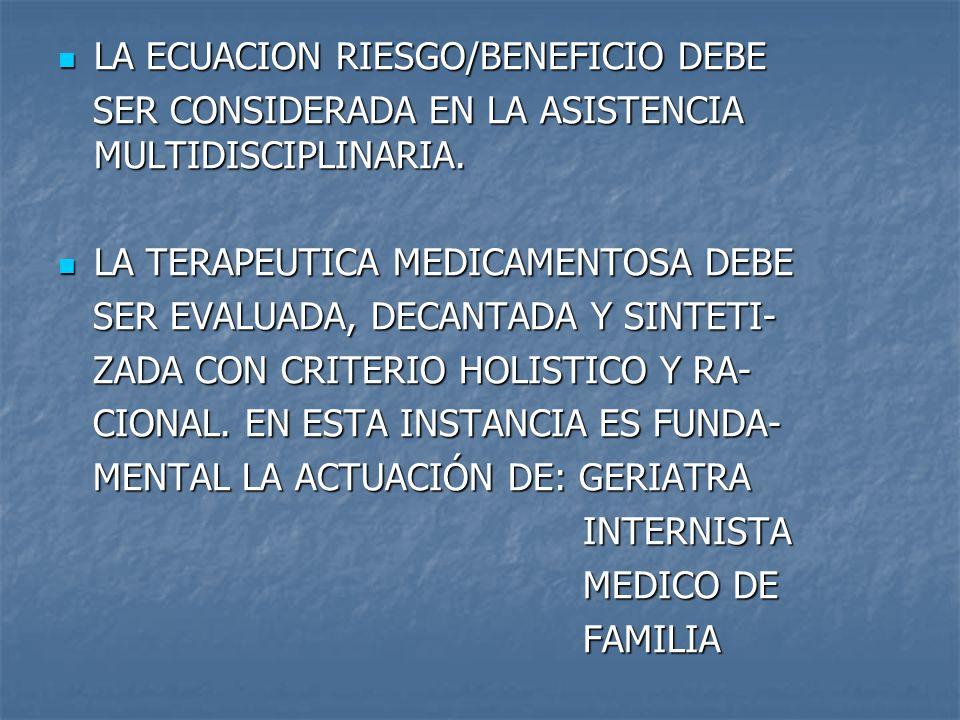 LA ECUACION RIESGO/BENEFICIO DEBE LA ECUACION RIESGO/BENEFICIO DEBE SER CONSIDERADA EN LA ASISTENCIA MULTIDISCIPLINARIA.