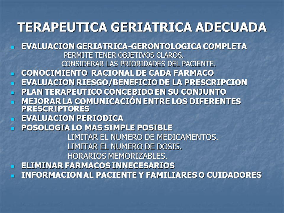 TERAPEUTICA GERIATRICA ADECUADA EVALUACION GERIATRICA-GERONTOLOGICA COMPLETA EVALUACION GERIATRICA-GERONTOLOGICA COMPLETA PERMITE TENER OBJETIVOS CLAROS.