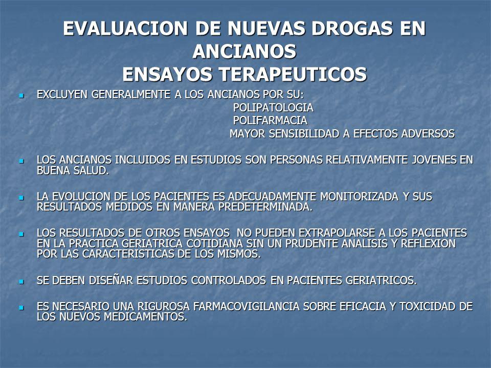 EVALUACION DE NUEVAS DROGAS EN ANCIANOS ENSAYOS TERAPEUTICOS EXCLUYEN GENERALMENTE A LOS ANCIANOS POR SU: EXCLUYEN GENERALMENTE A LOS ANCIANOS POR SU: POLIPATOLOGIA POLIPATOLOGIA POLIFARMACIA POLIFARMACIA MAYOR SENSIBILIDAD A EFECTOS ADVERSOS MAYOR SENSIBILIDAD A EFECTOS ADVERSOS LOS ANCIANOS INCLUIDOS EN ESTUDIOS SON PERSONAS RELATIVAMENTE JOVENES EN BUENA SALUD.