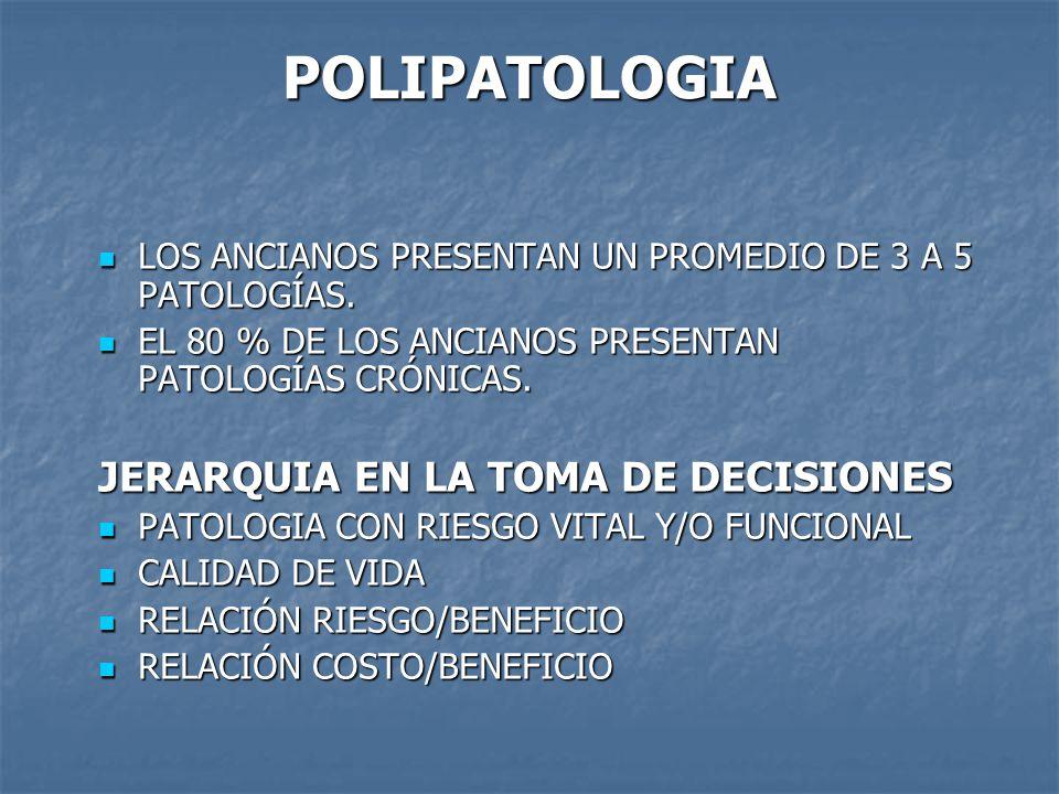 POLIPATOLOGIA LOS ANCIANOS PRESENTAN UN PROMEDIO DE 3 A 5 PATOLOGÍAS.