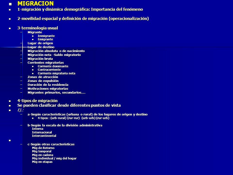 5-fuentes para el estudio de la migración 5-fuentes para el estudio de la migración 2 tipos: 2 tipos: Registran el hecho Registran el hecho –Registros de población –Otros listados: policiales o electorales –Aduanas puestos fronterizos (solo internacional) –Estadísticas vitales Responde el individuo Responde el individuo –Censos y Encuestas 6-procedimientos analíticos para el estudio y medición de la migración 6-procedimientos analíticos para el estudio y medición de la migración – –Técnicas Directas (en base a información de los individuos) Preguntas usuales que permiten las medición Preguntas usuales que permiten las medición Lugar de nacimiento Lugar de nacimiento Lugar de residencia anterior Lugar de residencia anterior Duración de la residencia actual Duración de la residencia actual Lugar de residencia en una fecha fija anterior Lugar de residencia en una fecha fija anterior Combinaciones lugar residencia anterior X duración residencia actual lugar de residencia anterior X lugar de nacimiento (retorno) lugar de residencia anterior X lugar de nacimiento (retorno) lugar nacimiento X lugar fecha fija anterior lugar nacimiento X lugar fecha fija anterior Matrices de migración Matrices de migraciónFlujosCorrientesTasas – (mig.
