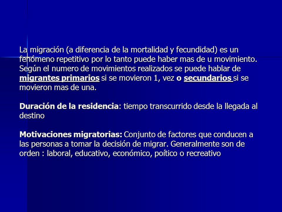 La migración (a diferencia de la mortalidad y fecundidad) es un fenómeno repetitivo por lo tanto puede haber mas de u movimiento. Según el numero de m