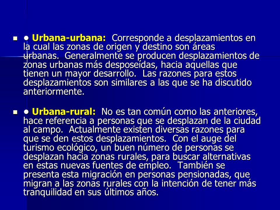 Urbana-urbana: Corresponde a desplazamientos en la cual las zonas de origen y destino son áreas urbanas. Generalmente se producen desplazamientos de z