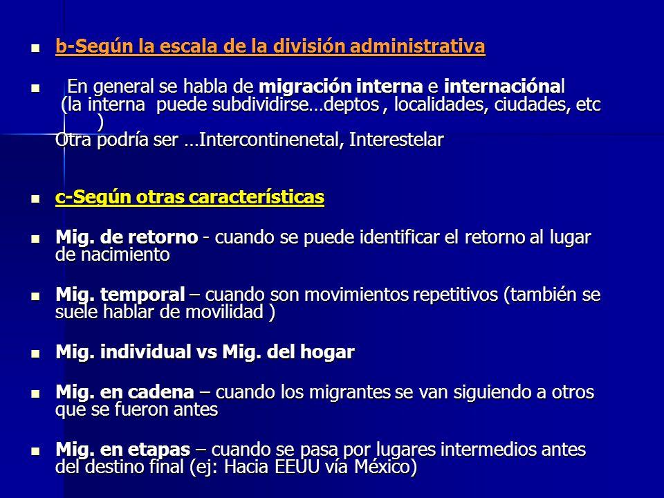 b-Según la escala de la división administrativa b-Según la escala de la división administrativa En general se habla de migración interna e internación