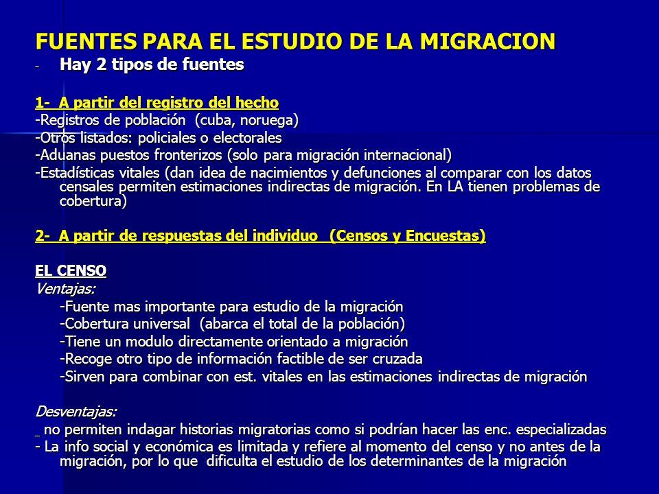 FUENTES PARA EL ESTUDIO DE LA MIGRACION - Hay 2 tipos de fuentes 1- A partir del registro del hecho -Registros de población (cuba, noruega) -Otros lis