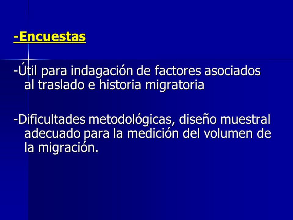 -Encuestas -Útil para indagación de factores asociados al traslado e historia migratoria -Dificultades metodológicas, diseño muestral adecuado para la