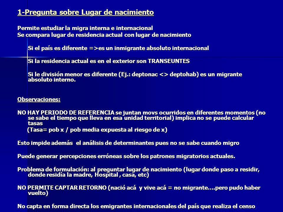 1-Pregunta sobre Lugar de nacimiento Permite estudiar la migra interna e internacional Se compara lugar de residencia actual con lugar de nacimiento S