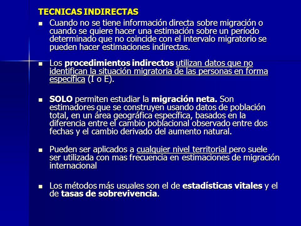 TECNICAS INDIRECTAS Cuando no se tiene información directa sobre migración o cuando se quiere hacer una estimación sobre un período determinado que no