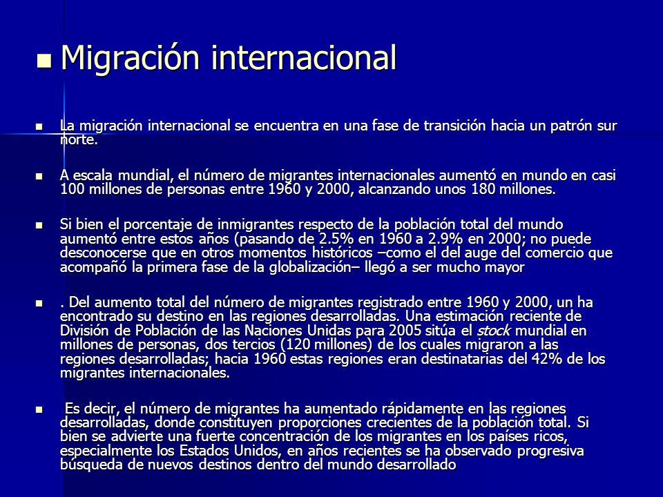 Migración internacional Migración internacional La migración internacional se encuentra en una fase de transición hacia un patrón sur norte. La migrac