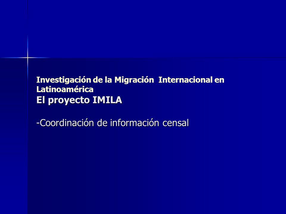 El proyecto IMILA -Coordinación de información censal Investigación de la Migración Internacional en Latinoamérica El proyecto IMILA -Coordinación de
