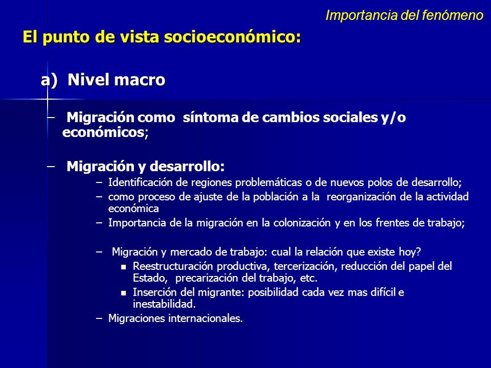 El punto de vista socioeconómico: a) Nivel macro – – Migración como síntoma de cambios sociales y/o económicos; – – Migración y desarrollo: – –Identif