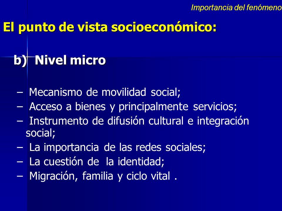 El punto de vista socioeconómico: b) Nivel micro – – Mecanismo de movilidad social; – – Acceso a bienes y principalmente servicios; – – Instrumento de