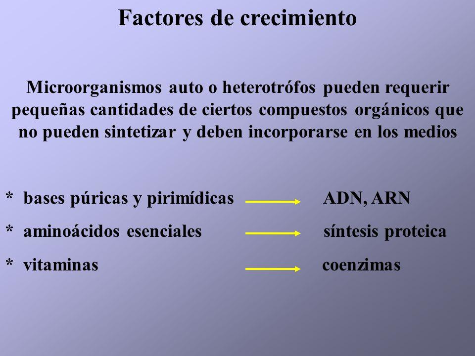 Factores de crecimiento Microorganismos auto o heterotrófos pueden requerir pequeñas cantidades de ciertos compuestos orgánicos que no pueden sintetiz
