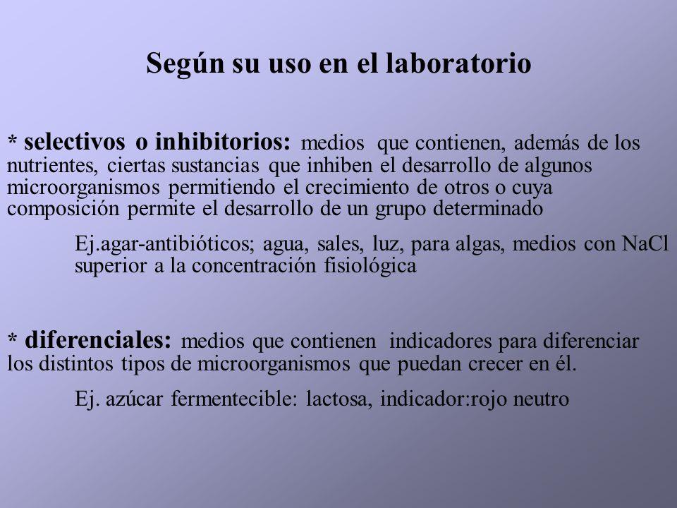 Según su uso en el laboratorio * selectivos o inhibitorios: medios que contienen, además de los nutrientes, ciertas sustancias que inhiben el desarrol