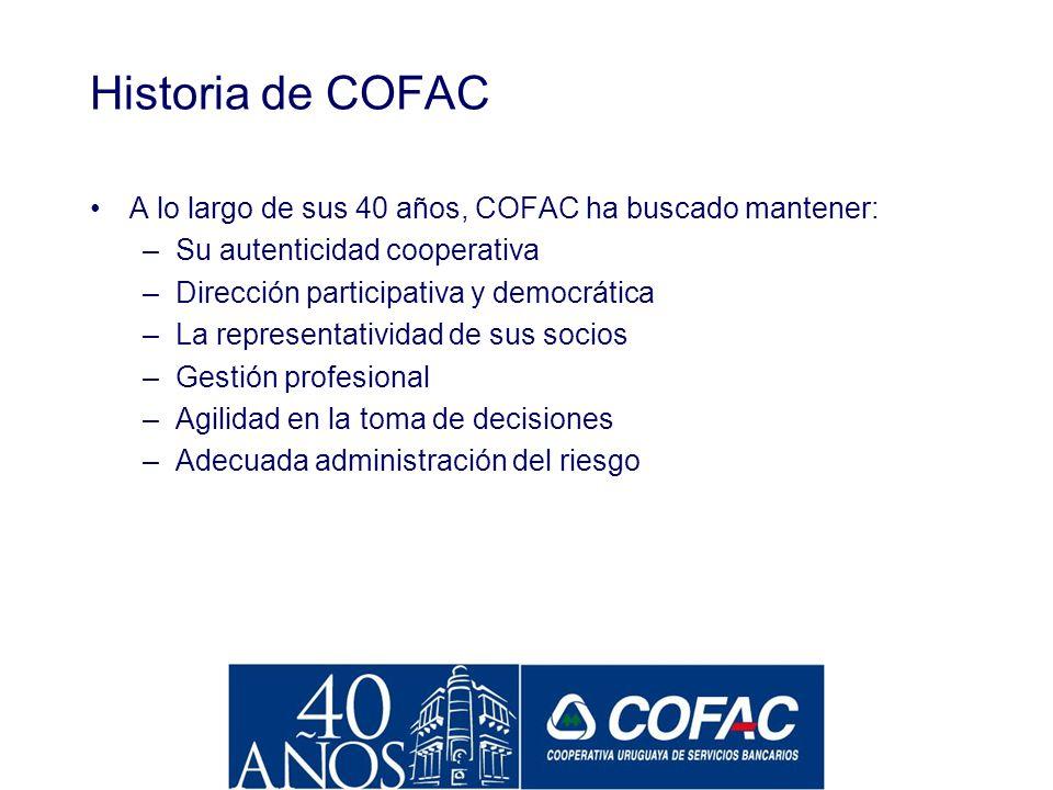 Historia de COFAC COFAC es una institución cooperativa formada a partir de la unificación de varias experiencias locales autónomas. La primera coopera