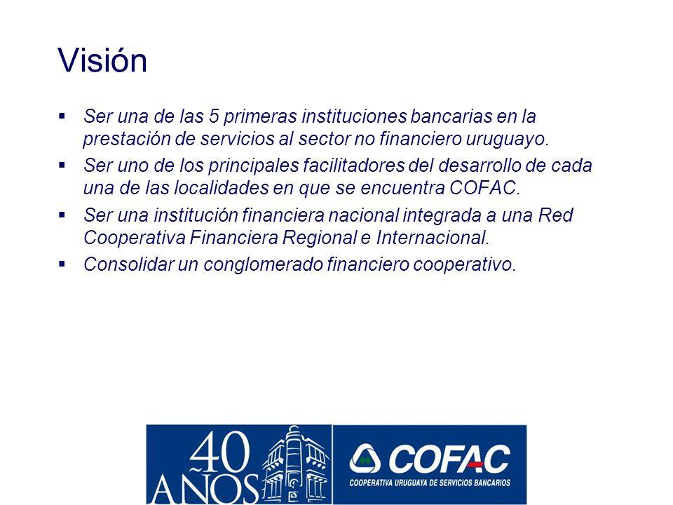 Misión Institución Cooperativa que brinda servicios financieros en forma integral a las pequeñas y medianas economías uruguayas, difundiendo los valor