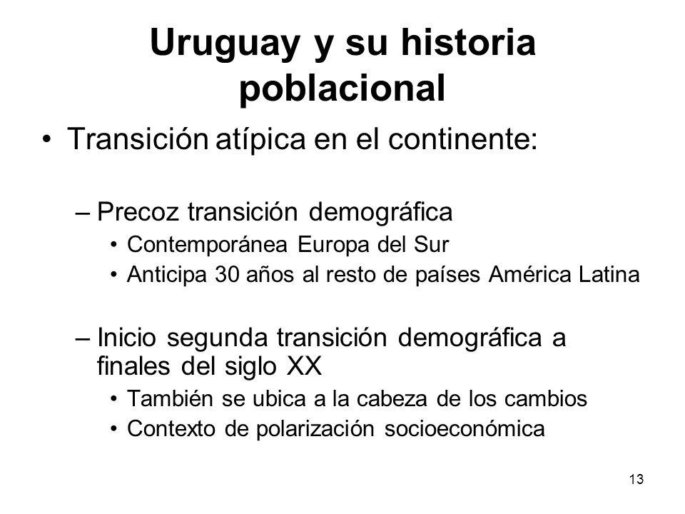 13 Uruguay y su historia poblacional Transición atípica en el continente: –Precoz transición demográfica Contemporánea Europa del Sur Anticipa 30 años
