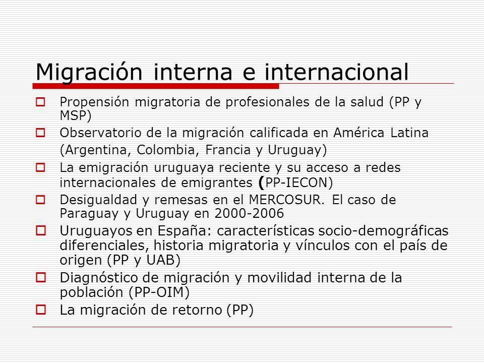 Migración interna e internacional Propensión migratoria de profesionales de la salud (PP y MSP) Observatorio de la migración calificada en América Lat