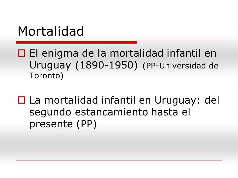 Mortalidad El enigma de la mortalidad infantil en Uruguay (1890-1950) (PP-Universidad de Toronto) La mortalidad infantil en Uruguay: del segundo estan