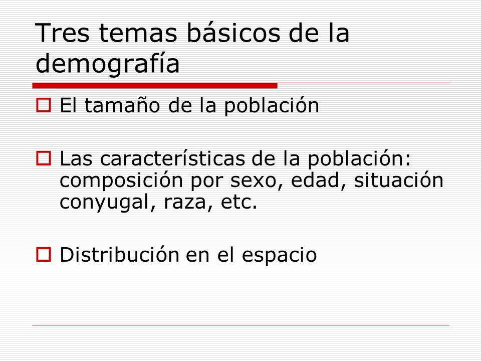 Tres temas básicos de la demografía El tamaño de la población Las características de la población: composición por sexo, edad, situación conyugal, raz