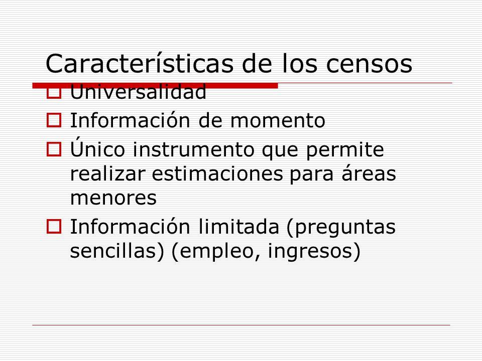 Características de los censos Universalidad Información de momento Único instrumento que permite realizar estimaciones para áreas menores Información