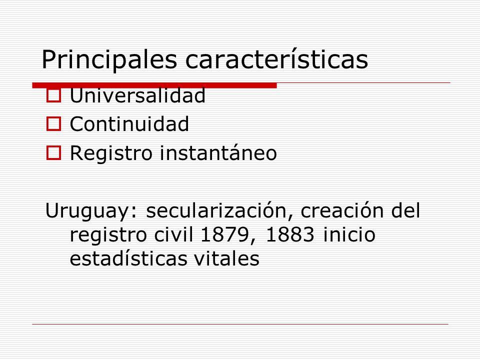 Principales características Universalidad Continuidad Registro instantáneo Uruguay: secularización, creación del registro civil 1879, 1883 inicio esta