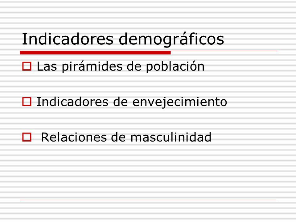 Indicadores demográficos Las pirámides de población Indicadores de envejecimiento Relaciones de masculinidad