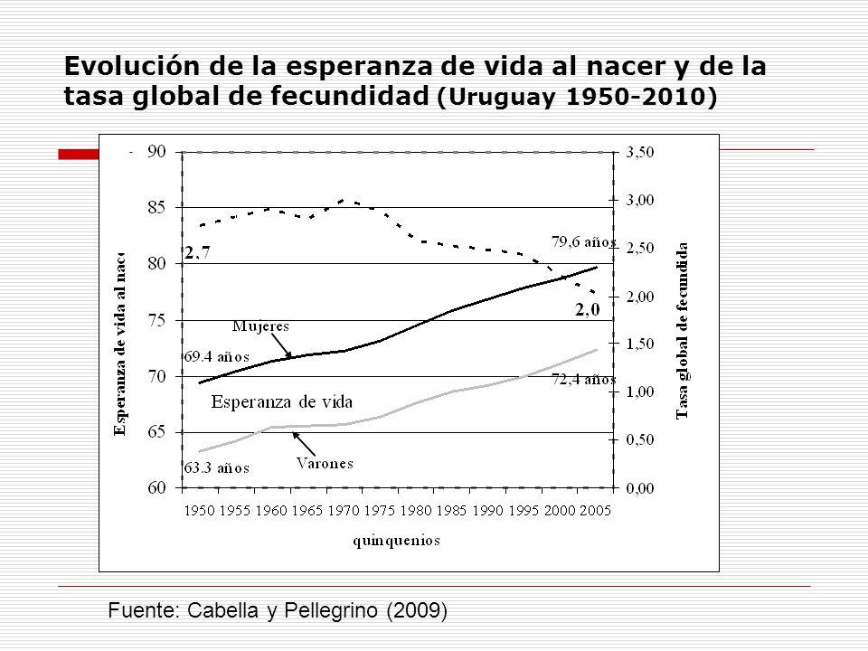 Evolución de la esperanza de vida al nacer y de la tasa global de fecundidad (Uruguay 1950-2010) Fuente: Cabella y Pellegrino (2009)