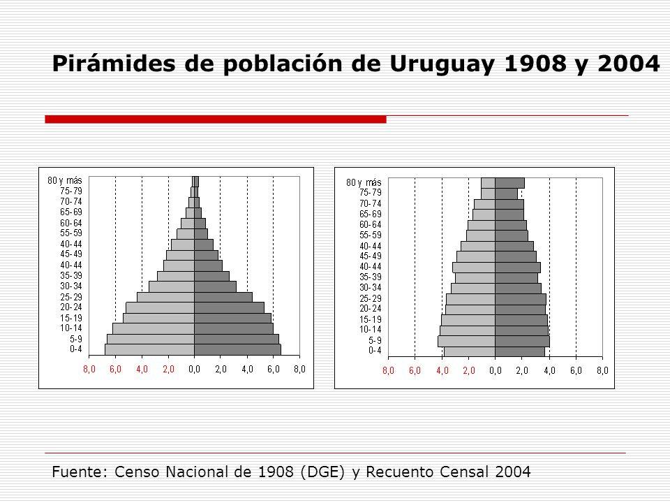 Pirámides de población de Uruguay 1908 y 2004 Fuente: Censo Nacional de 1908 (DGE) y Recuento Censal 2004
