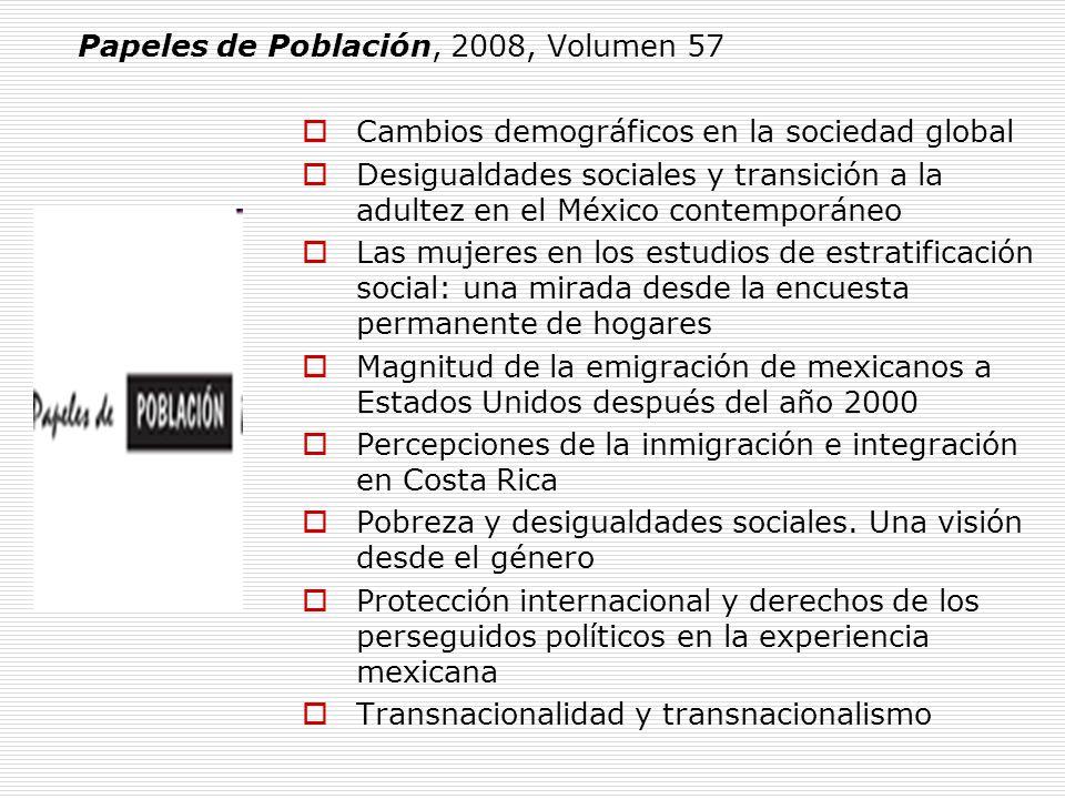 Cambios demográficos en la sociedad global Desigualdades sociales y transición a la adultez en el México contemporáneo Las mujeres en los estudios de