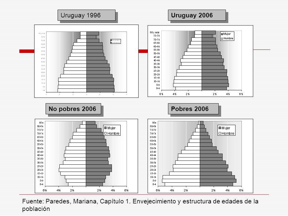No pobres 2006 Pobres 2006 Uruguay 2006 Uruguay 1996 Fuente: Paredes, Mariana, Capítulo 1. Envejecimiento y estructura de edades de la población
