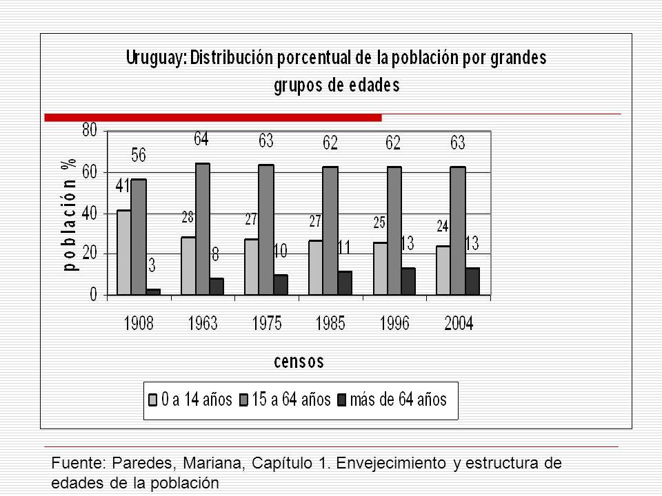 Fuente: Paredes, Mariana, Capítulo 1. Envejecimiento y estructura de edades de la población