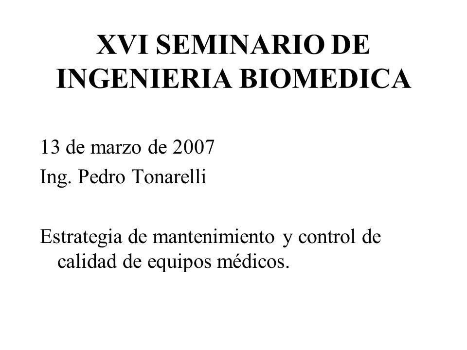 XVI SEMINARIO DE INGENIERIA BIOMEDICA 13 de marzo de 2007 Ing.