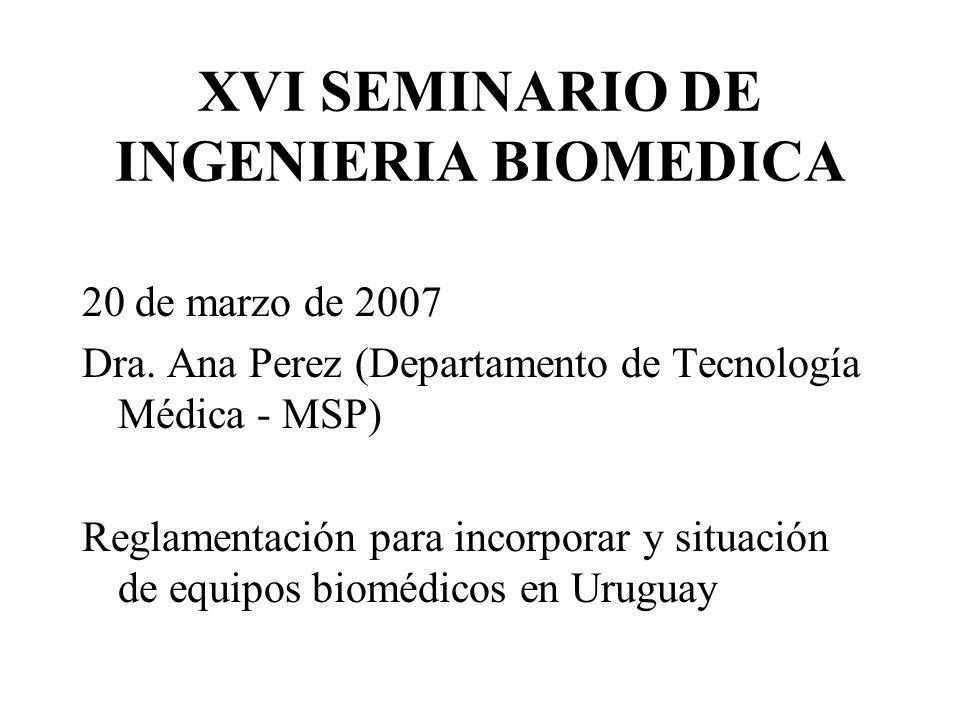 XVI SEMINARIO DE INGENIERIA BIOMEDICA 20 de marzo de 2007 Dra.