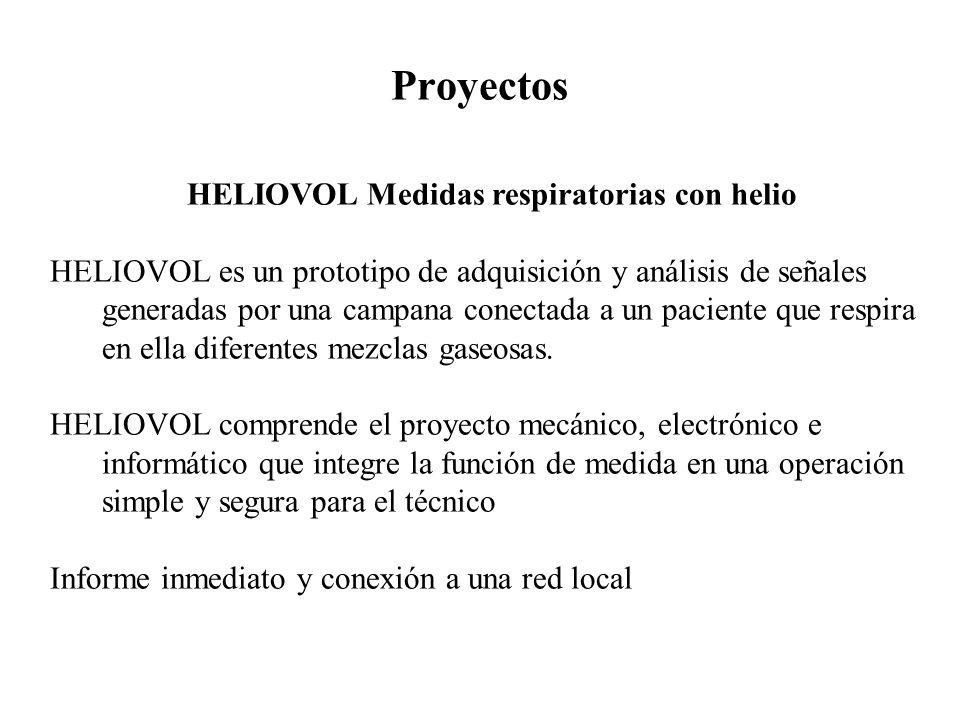 Proyectos HELIOVOL Medidas respiratorias con helio HELIOVOL es un prototipo de adquisición y análisis de señales generadas por una campana conectada a un paciente que respira en ella diferentes mezclas gaseosas.
