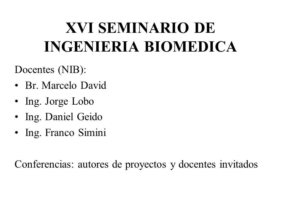 XVI SEMINARIO DE INGENIERIA BIOMEDICA Docentes (NIB): Br.
