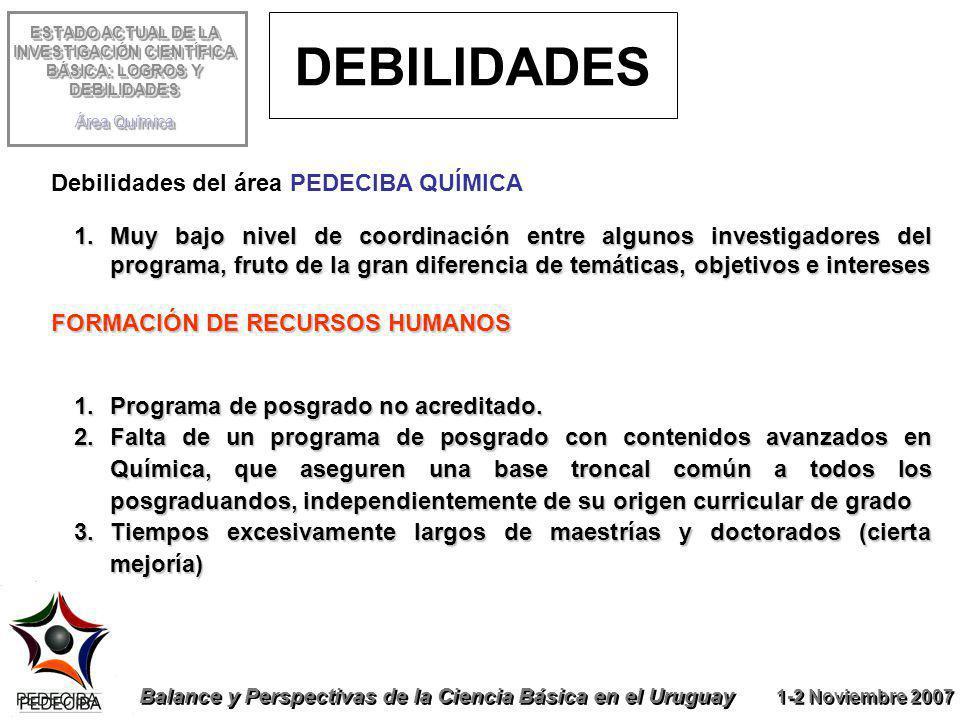 ESTADO ACTUAL DE LA INVESTIGACIÓN CIENTÍFICA BÁSICA: LOGROS Y DEBILIDADES Área Química Balance y Perspectivas de la Ciencia Básica en el Uruguay 1-2 N