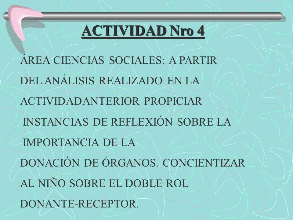 ACTIVIDAD Nro 4 ÁREA CIENCIAS SOCIALES: A PARTIR DEL ANÁLISIS REALIZADO EN LA ACTIVIDADANTERIOR PROPICIAR INSTANCIAS DE REFLEXIÓN SOBRE LA IMPORTANCIA DE LA DONACIÓN DE ÓRGANOS.