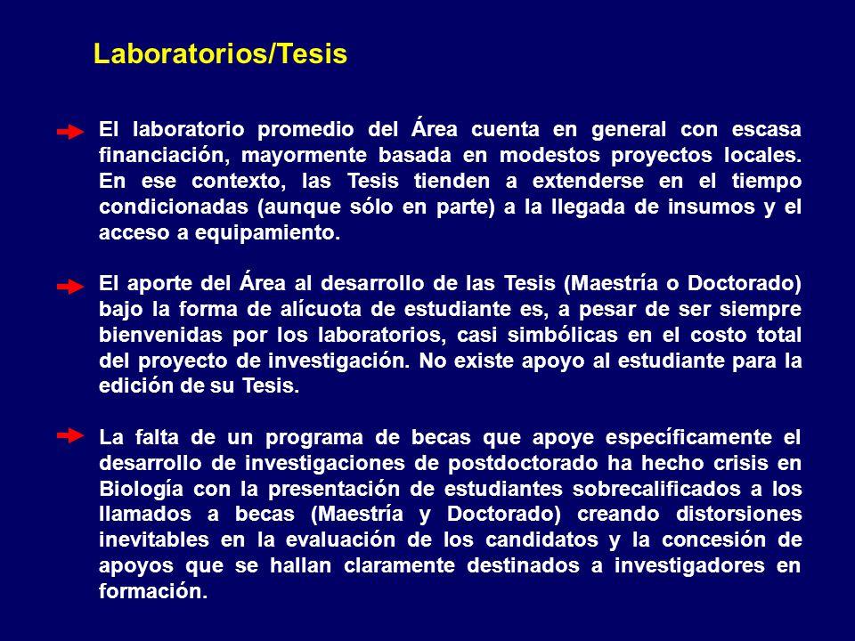 Laboratorios/Tesis El laboratorio promedio del Área cuenta en general con escasa financiación, mayormente basada en modestos proyectos locales.