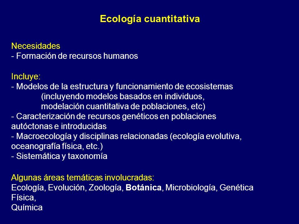 Ecología cuantitativa Incluye: - Modelos de la estructura y funcionamiento de ecosistemas (incluyendo modelos basados en individuos, modelación cuantitativa de poblaciones, etc) - Caracterización de recursos genéticos en poblaciones autóctonas e introducidas - Macroecología y disciplinas relacionadas (ecología evolutiva, oceanografía física, etc.) - Sistemática y taxonomía Necesidades - Formación de recursos humanos Algunas áreas temáticas involucradas: Ecología, Evolución, Zoología, Botánica, Microbiología, Genética Física, Química