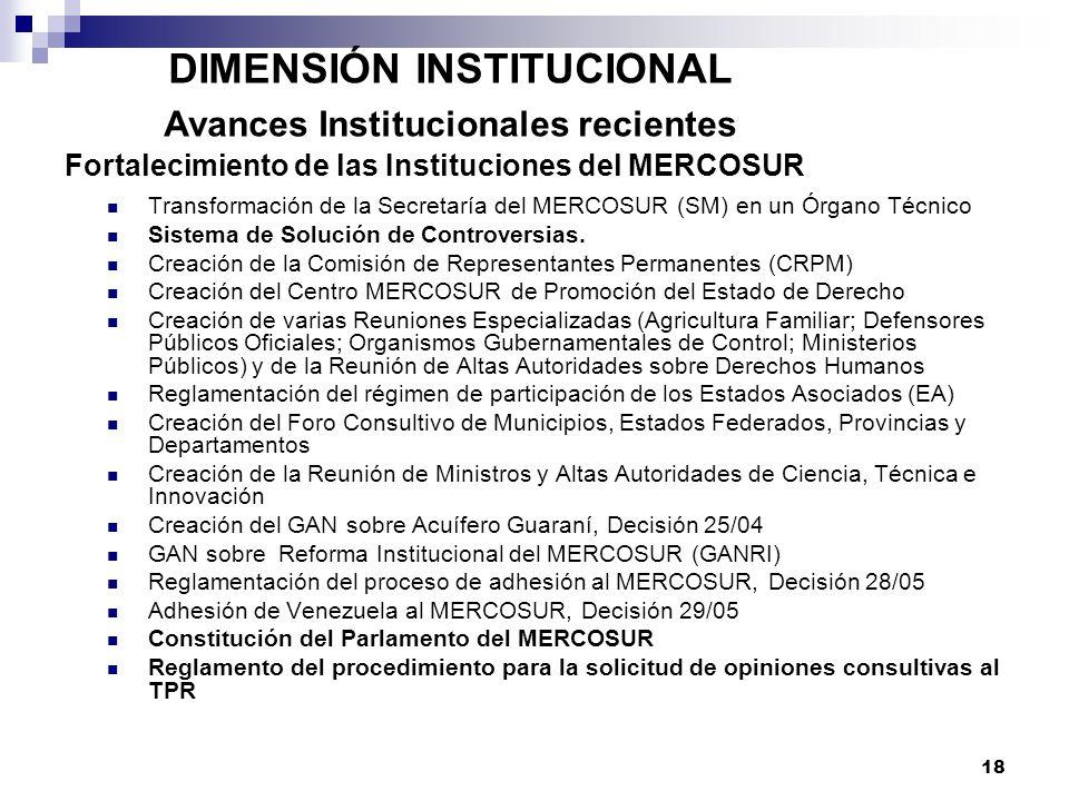 18 DIMENSIÓN INSTITUCIONAL Avances Institucionales recientes Fortalecimiento de las Instituciones del MERCOSUR Transformación de la Secretaría del MER