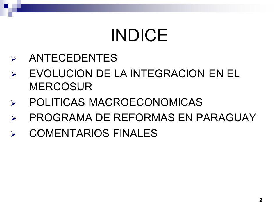 2 INDICE ANTECEDENTES EVOLUCION DE LA INTEGRACION EN EL MERCOSUR POLITICAS MACROECONOMICAS PROGRAMA DE REFORMAS EN PARAGUAY COMENTARIOS FINALES