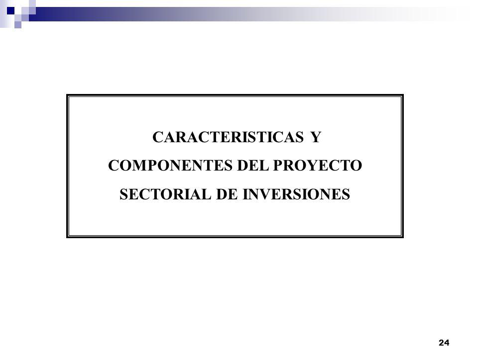 24 CARACTERISTICAS Y COMPONENTES DEL PROYECTO SECTORIAL DE INVERSIONES