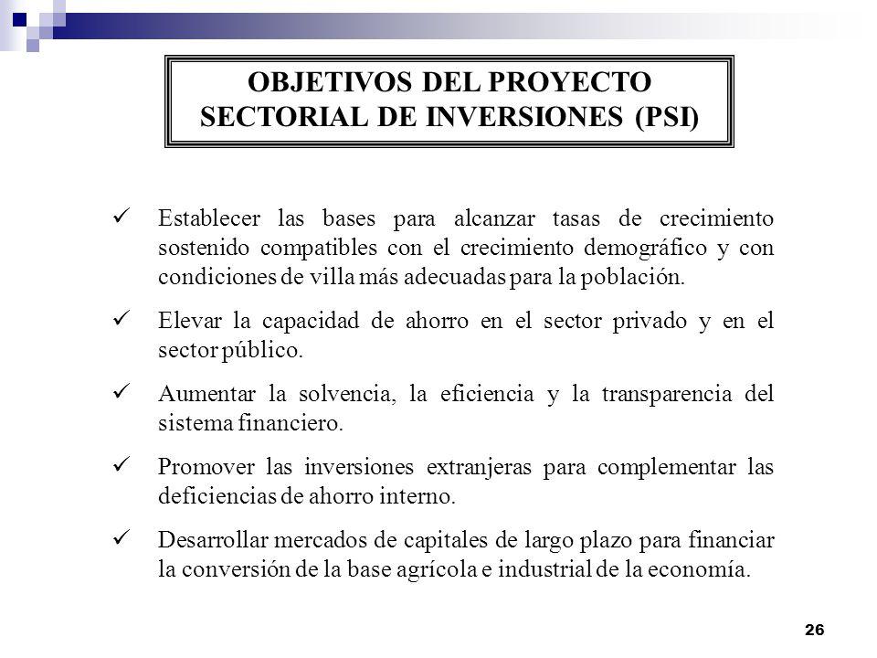 26 OBJETIVOS DEL PROYECTO SECTORIAL DE INVERSIONES (PSI) Establecer las bases para alcanzar tasas de crecimiento sostenido compatibles con el crecimie