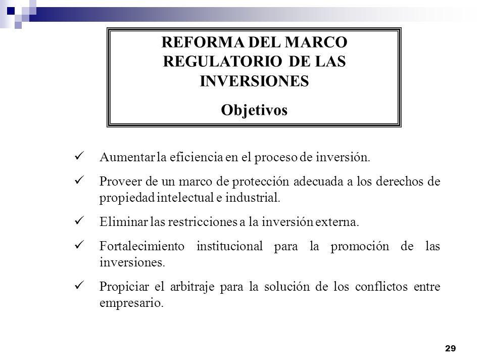 29 REFORMA DEL MARCO REGULATORIO DE LAS INVERSIONES Objetivos Aumentar la eficiencia en el proceso de inversión. Proveer de un marco de protección ade
