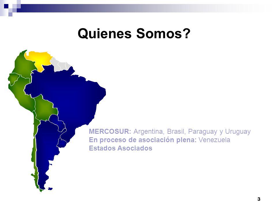 3 Quienes Somos? MERCOSUR: Argentina, Brasil, Paraguay y Uruguay En proceso de asociación plena: Venezuela Estados Asociados