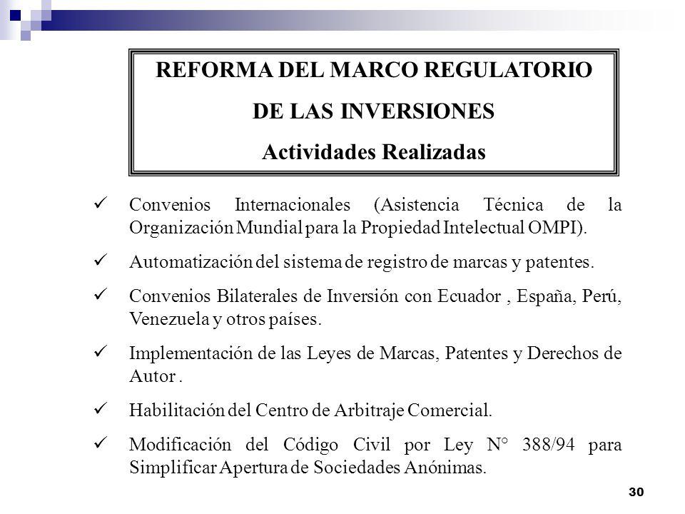 30 REFORMA DEL MARCO REGULATORIO DE LAS INVERSIONES Actividades Realizadas Convenios Internacionales (Asistencia Técnica de la Organización Mundial pa