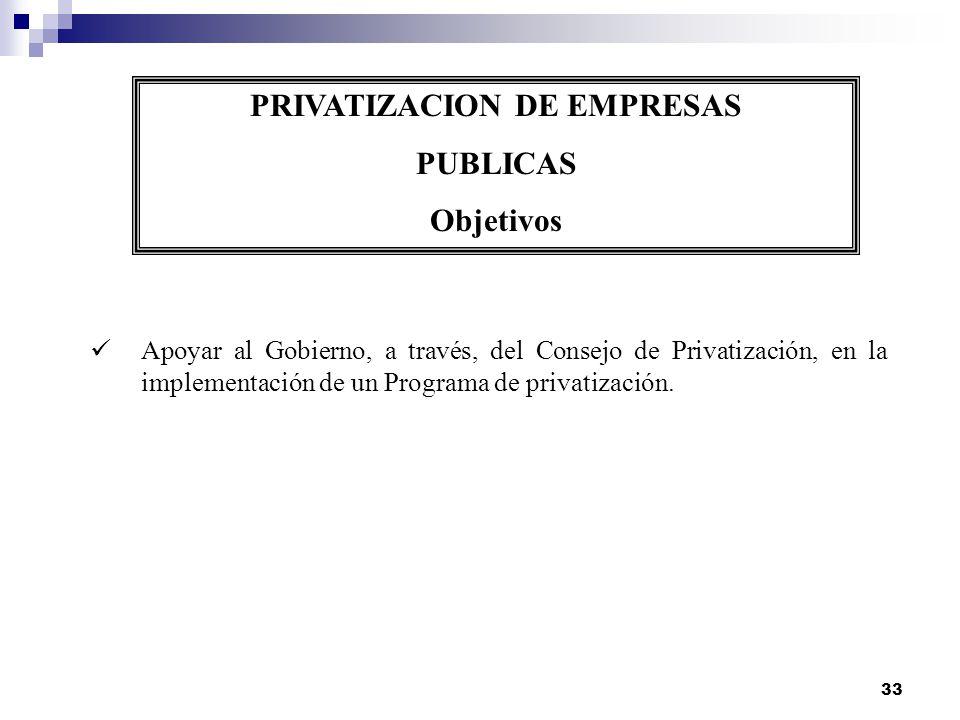 33 PRIVATIZACION DE EMPRESAS PUBLICAS Objetivos Apoyar al Gobierno, a través, del Consejo de Privatización, en la implementación de un Programa de pri