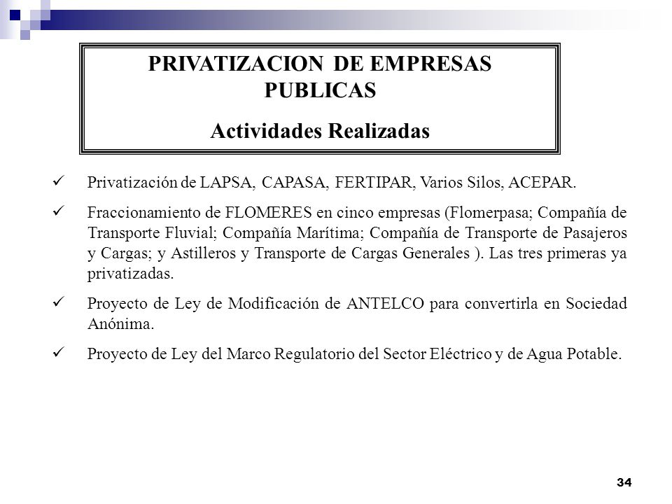 34 PRIVATIZACION DE EMPRESAS PUBLICAS Actividades Realizadas Privatización de LAPSA, CAPASA, FERTIPAR, Varios Silos, ACEPAR. Fraccionamiento de FLOMER