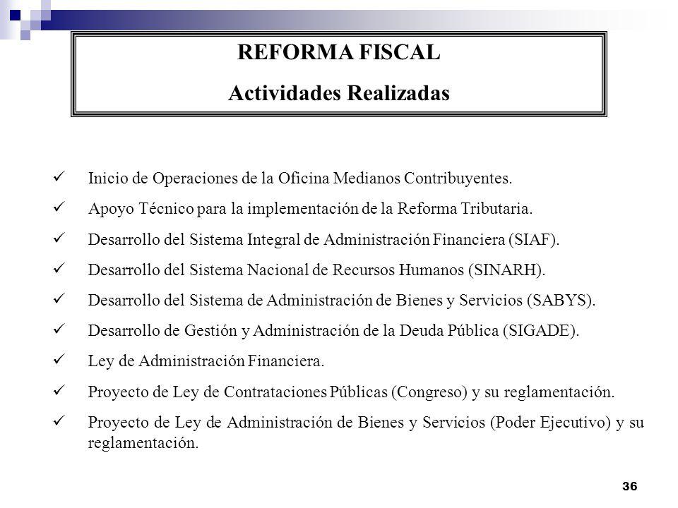 36 REFORMA FISCAL Actividades Realizadas Inicio de Operaciones de la Oficina Medianos Contribuyentes. Apoyo Técnico para la implementación de la Refor